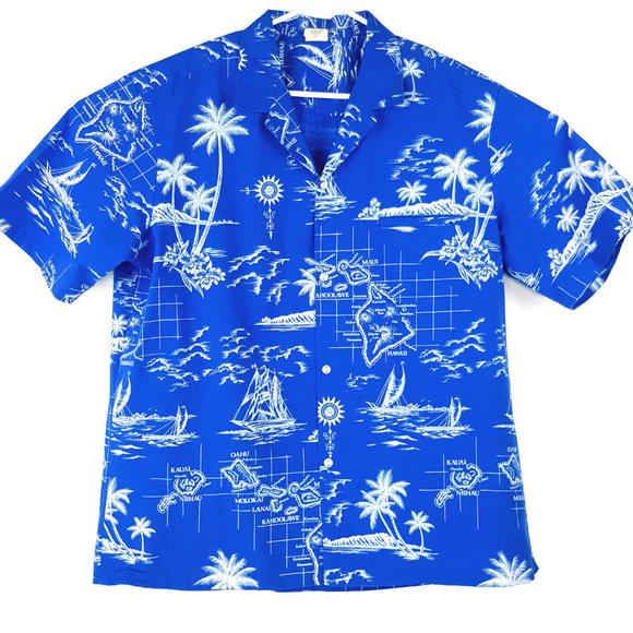 7f71f703 Royal Creations Hawaii Men Blue XL Button Up Shirt.  M_5b477b4904e33d0982223dbd